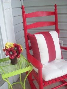 ocking chair with added cushions
