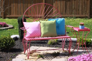 steel patio bench with cushions